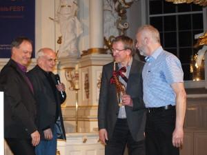 Präses der Landessynode Andreas Tietze, Pastor Frank Howaldt, Wolfgang der Erste und Wolfgang der Andere